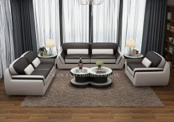 Fancy Homes Marco lounges suites leather sofa in black and white leather combining streamlined design and sophistications