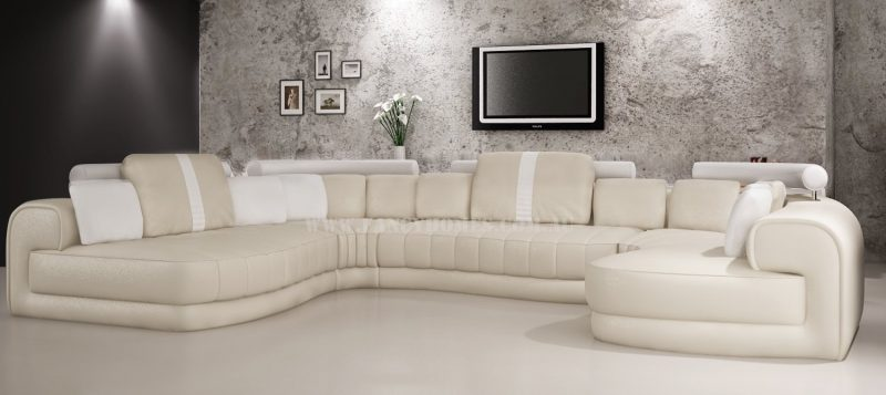 Fancy Homes Milo modular leather sofa in cream and white leather