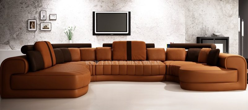Fancy Homes Milo modular leather sofa in light brown and dark brown leather