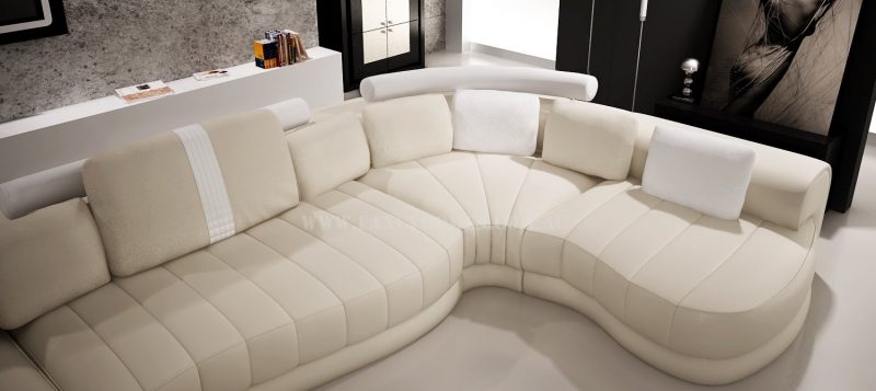 Fancy Homes Milo modular leather sofa in cream and white leather is constructed with super-resilient high-density foam to ensure long-lasting quality