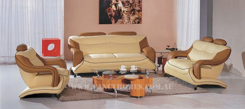 Fancy Homes Masarati lounges suites leather sofa in beige and cream leather