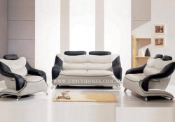 Fancy Homes Masarati lounges suites leather sofa in creamy white and black leather featuring unique design with adjustable headrests