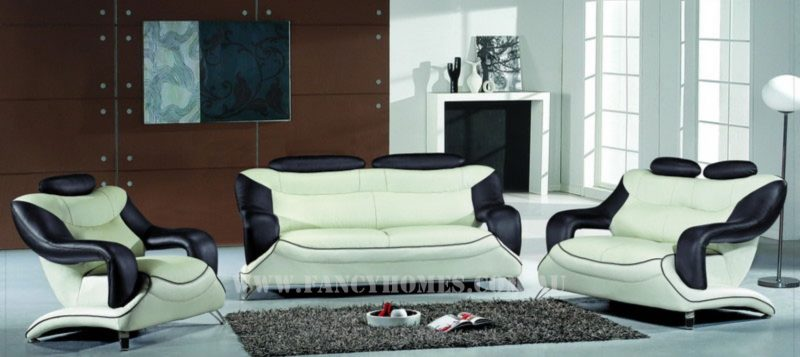 Fancy Homes Masarati lounges suites leather sofa in pure white and black leather