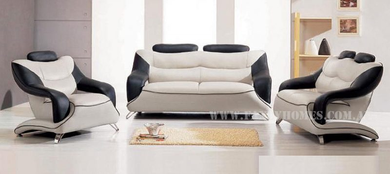 Fancy Homes Masarati lounges suites leather sofa in creamy white and black leather