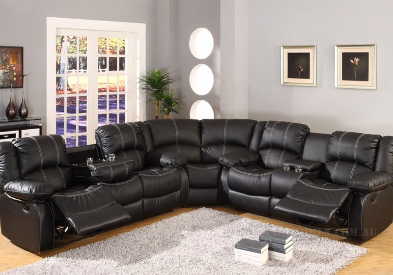 Fancy Homes Novak recliner leather sofa in black leather