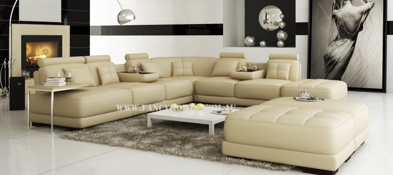 Fancy Homes Paris corner leather sofa in beige leather