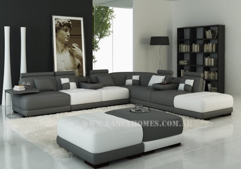 Fancy Homes Paris corner leather sofa in dark grey and white leather with adjustable headrests, removable ottomans and foldable cupholders