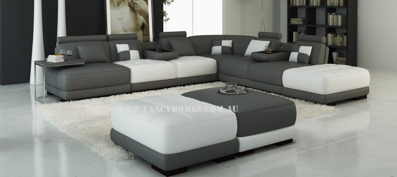 Fancy Homes Paris corner leather sofa in dark grey and white leather