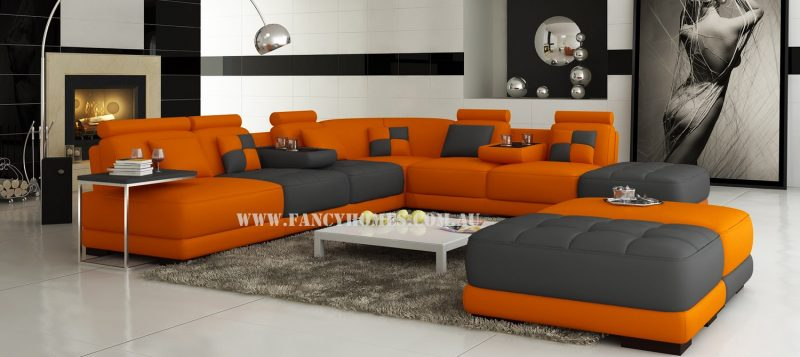 Fancy Homes Paris corner leather sofa in orange and dark grey leather