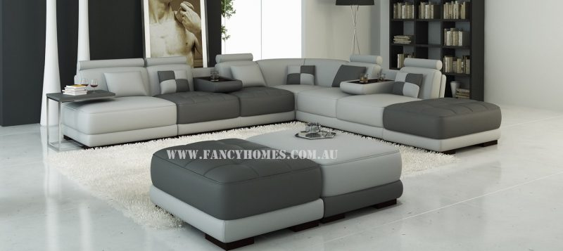 Fancy Homes Paris corner leather sofa in dark grey and light grey leather