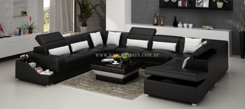 Fancy Homes Paloma corner leather sofa in black and white leather