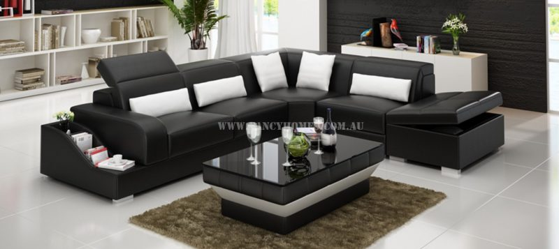Fancy Homes Paloma-D corner leather sofa in black and white leather
