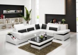 Fancy Homes Paloma-D corner leather sofa in white and black leather featured with easy-adjust headrests, bookshelves and storage ottoman