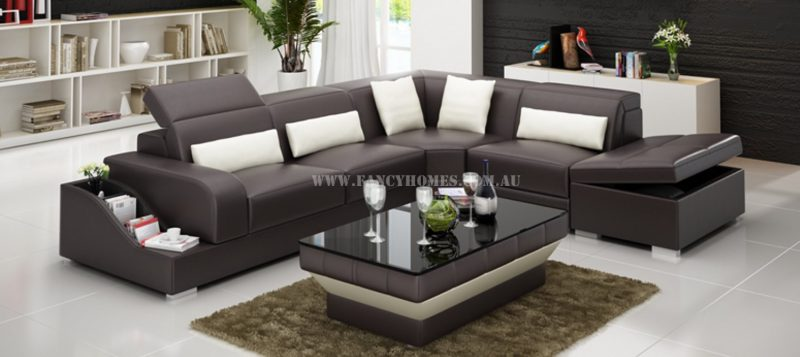 Fancy Homes Paloma-D corner leather sofa in brown and white leather