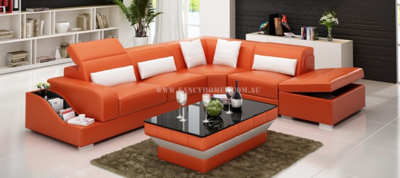 Fancy Homes Paloma-D corner leather sofa in orange and white leather