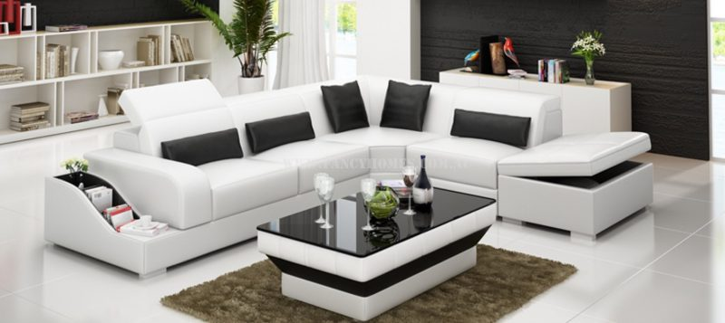 Fancy Homes Paloma-D corner leather sofa in white and black leather