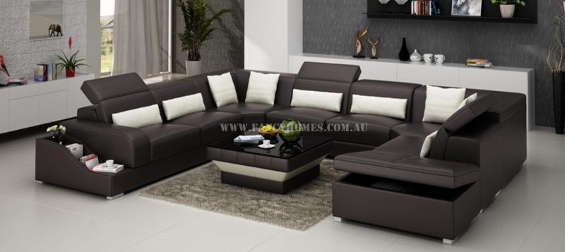 Fancy Homes Paloma corner leather sofa in brown and white leather