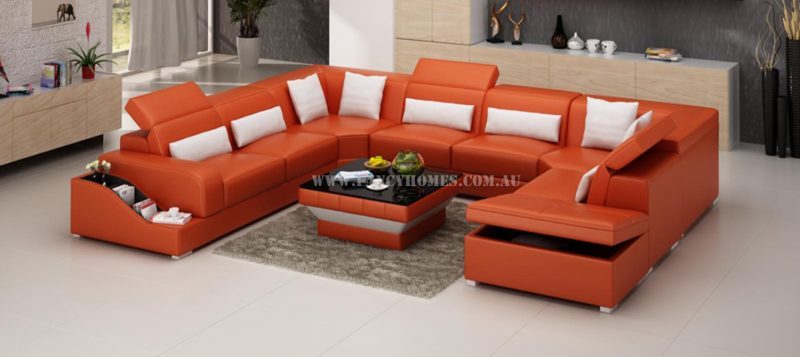 Fancy Homes Paloma corner leather sofa in orange and white leather