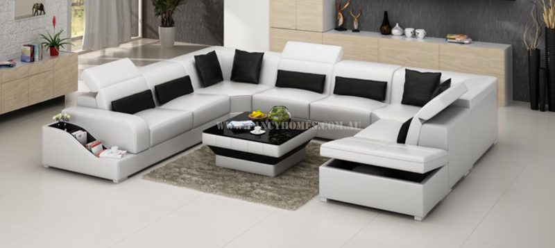 Fancy Homes Paloma corner leather sofa in white and black leather