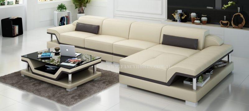 Fancy Homes Paxton-C chaise leather sofa in beige and brown leather