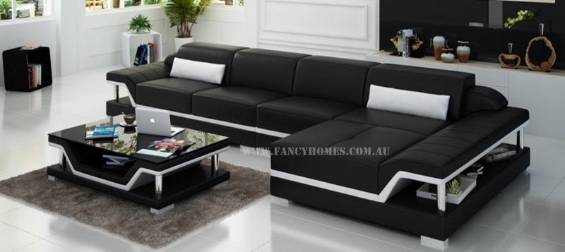 Fancy Homes Paxton-C chaise leather sofa in black and white leather