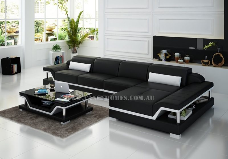Fancy Homes Paxton-C chaise leather sofa in black and white leather featured with adjustable headrests and storage armrests