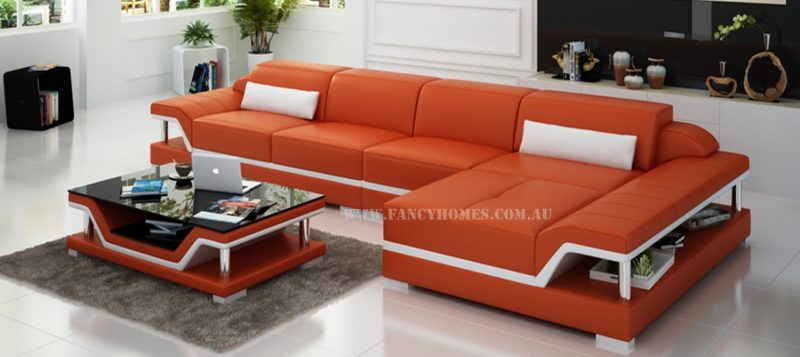 Fancy Homes Paxton-C chaise leather sofa in orange and white leather