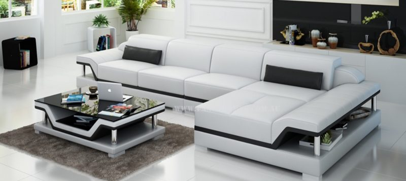 Fancy Homes Paxton-C chaise leather sofa in white and black leather