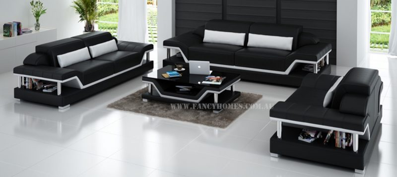 Fancy Homes Paxton-D lounges suites leather sofa in black and white leather