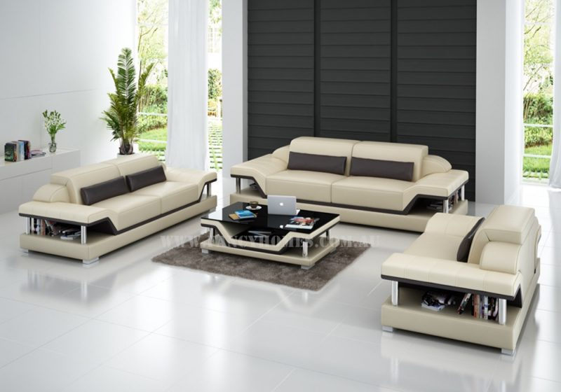 Fancy Homes Paxton-D lounges suites leather sofa in beige and brown leather featured with adjustable headrests and storage armrests