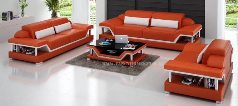 Fancy Homes Paxton-D lounges suites leather sofa in orange and white leather