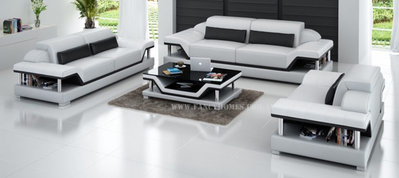 Fancy Homes Paxton-D lounges suites leather sofa in white and black leather