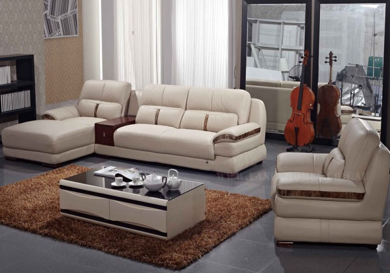 Fancy Homes Pepe chaise leather sofa in beige leather featuring storage draw unit