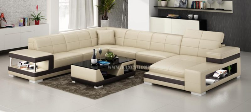 Fancy Homes Prima modular leather sofa in beige and brown