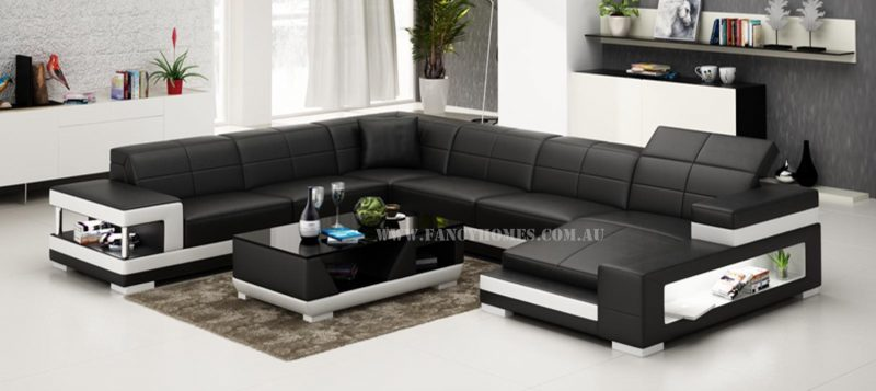 Fancy Homes Prima modular leather sofa in black and white leather