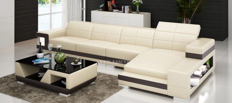 Fancy Homes Prima-C chaise leather sofa in beige and brown leather