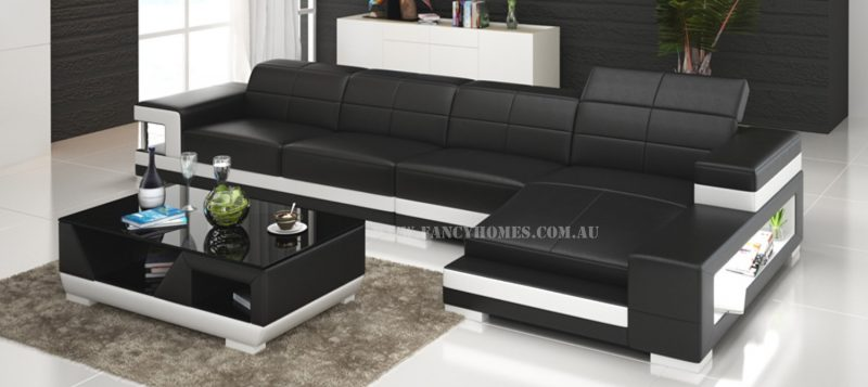 Fancy Homes Prima-C chaise leather sofa in black and white leather