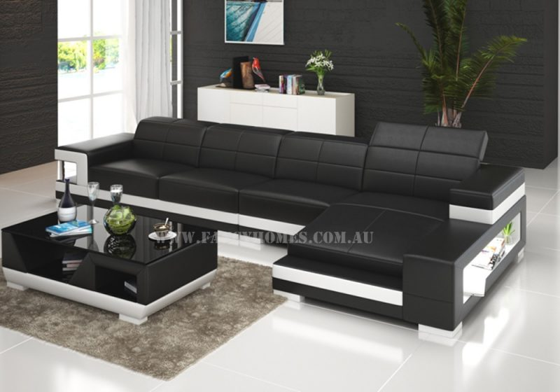 Fancy Homes Prima-C chaise leather sofa in black and white leather with easy-adjust headrests, LED lighting systems and storage armrests