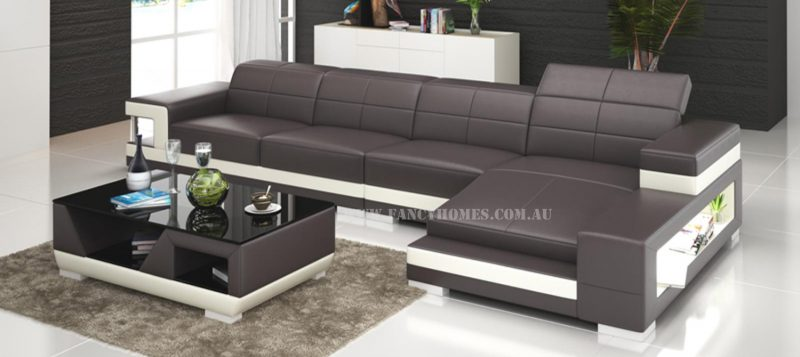 Fancy Homes Prima-C chaise leather sofa in brown and white