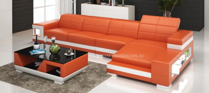 Fancy Homes Prima-C chaise leather sofa in orange and white leather
