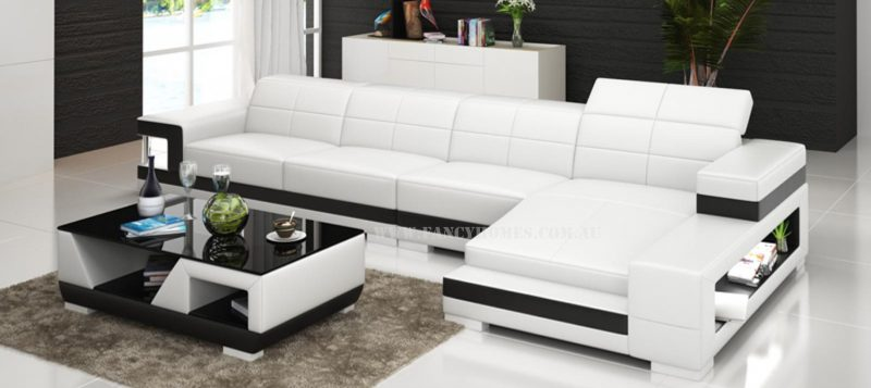 Fancy Homes Prima-C chaise leather sofa in white and black leather