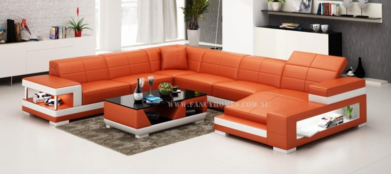 Fancy Homes Prima U-shaped modular leather sofa in orange and white