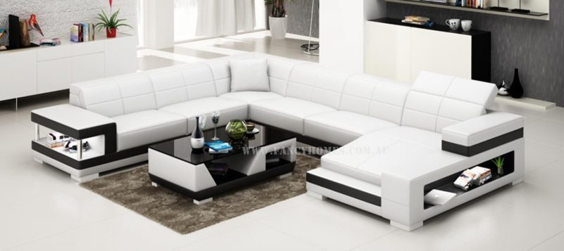 Fancy Homes U-shaped Prima modular leather sofa in white and black