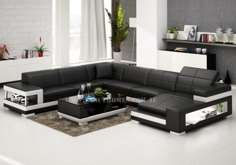 Fancy Homes U-shaped Prima modular leather sofa in black and white leather featured with adjustable headrests, storage armrests and LED lighting systems