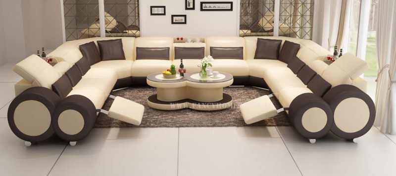 Fancy Homes Renata-B U-shaped corner leather sofa in beige and brown leather