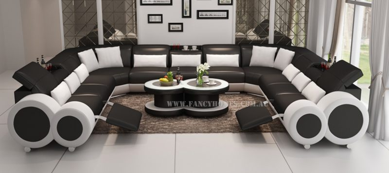Fancy Homes Renata-B U-shaped corner leather sofa in black and white leather