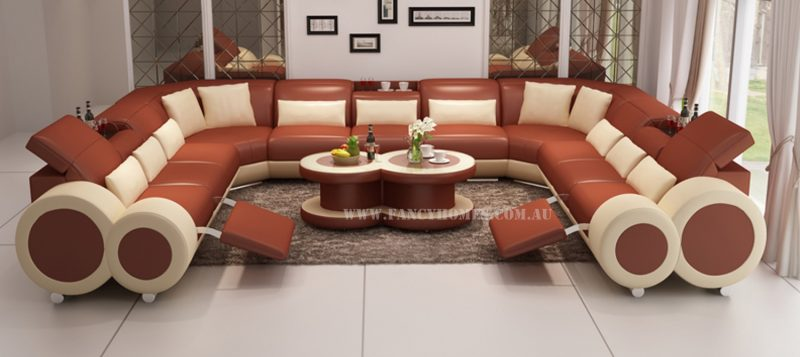 Fancy Homes Renata-B U-shaped corner leather sofa in bronze and beige leather