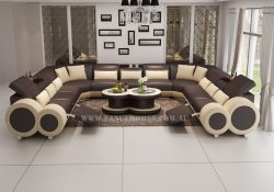 Fancy Homes Renata-B U-shaped corner leather sofa in brown and beige leather featured with built-in middle table and foldable footrests