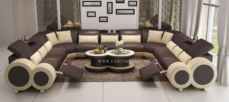 Fancy Homes Renata-B U-shaped corner leather sofa in brown and beige leather