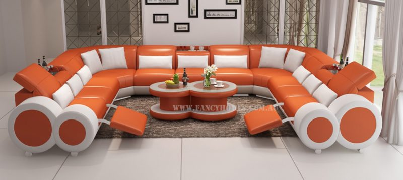 Fancy Homes Renata-B U-shaped corner leather sofa in orange and white leather
